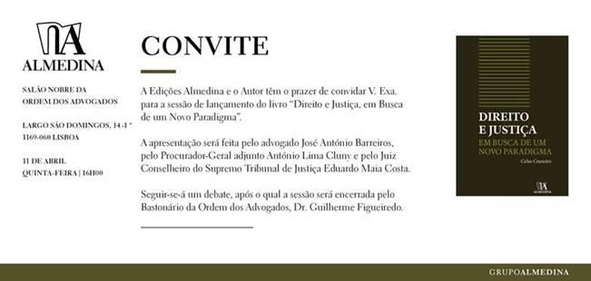 """Convite – Lançamento do livro """"Direito e Justiça, em Busca de um Novo Paradigma"""""""